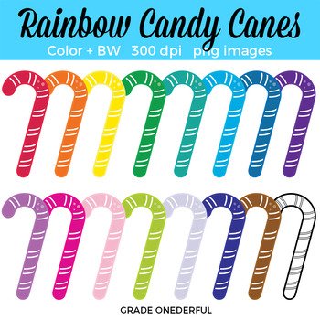 Super cute rainbow candy canes clip art