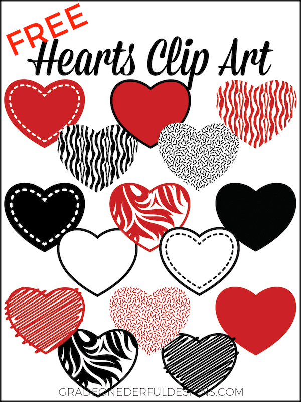 15 Valentine Hearts Clip Art: Free. These beautiful red and black clipart hearts are 8 inches wide on transparent backgrounds. You\'re gonna love \'em!
