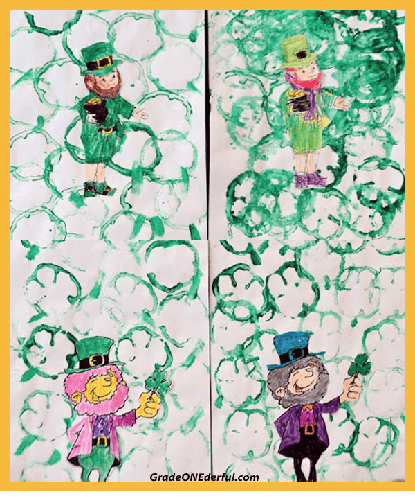 How to Make a Cute St. Patrick\'s Day Painting in 5 Easy Steps. Use a sliced green pepper to stamp out some shamrocks. Link to cute leprechaun to colour is included.