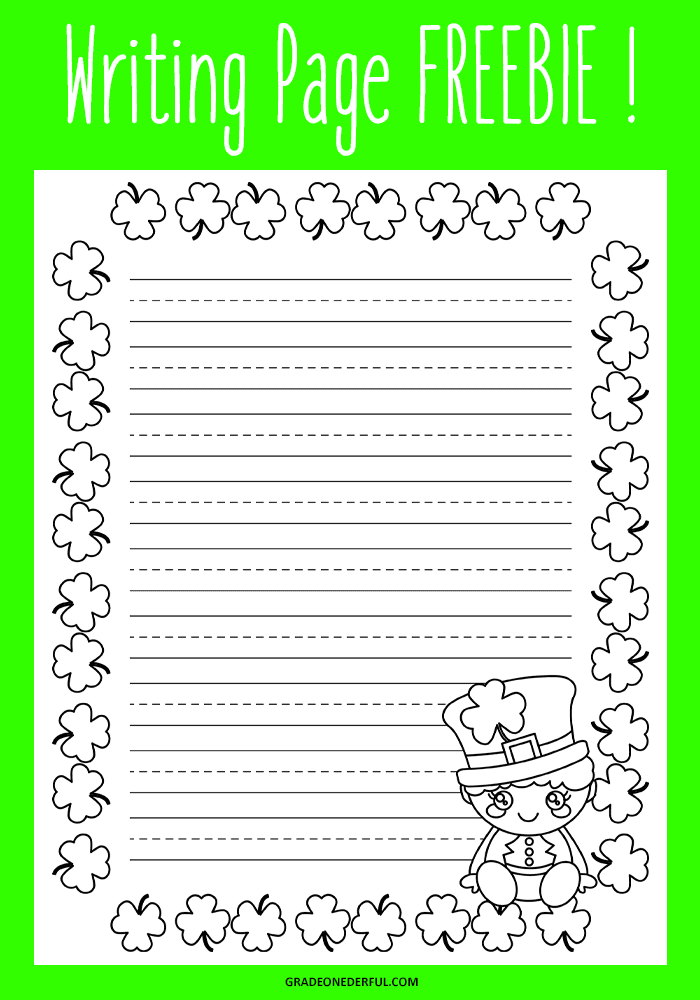 St. Patrick's Day Writing Sheet. Free. Perfect for K-2.