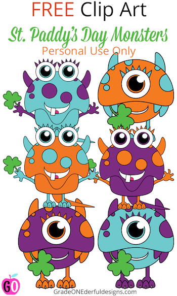 St. Patrick's Day monsters clip art