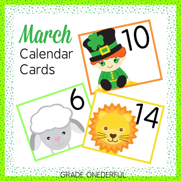 March calendar number cards. This set includes a lion, lamb and leprechaun with numbers 1-31, plus 23/30 and 24/31. It also includes 3 birthday cards, 3 no school cards and 3 St. Pat's Day cards AND 6 blank cards from each set.
