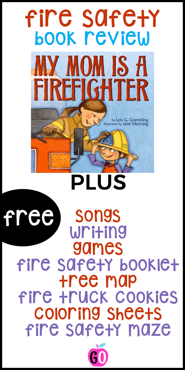 My Mom is a Firefighter book review PLUS a ton of freebies: song, poems, games, writing, tree map, fire truck cookies and a guided drawing activity. #firesafety #firesafetyforkids #booksforkids #gradeonederful