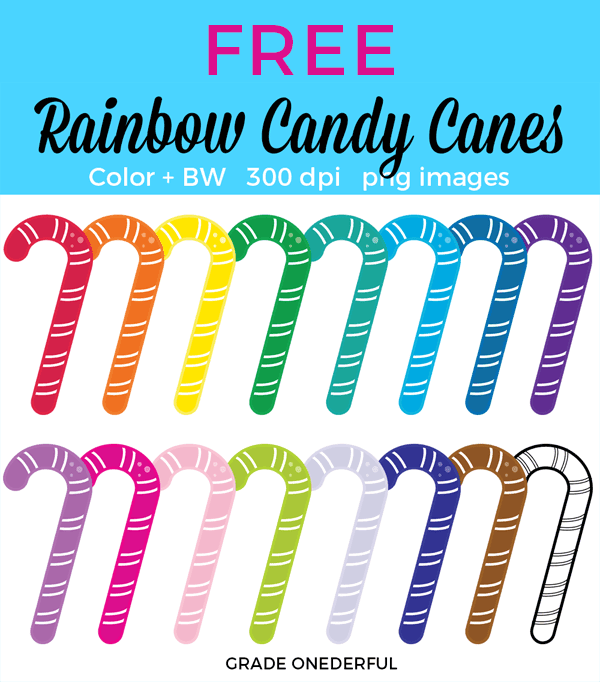 Free candy cane clip art for personal and classroom use. Includes 15 colored candy canes and 1 black and white candy cane.