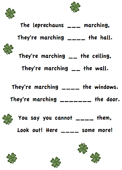 St. Patrick\'s Day poem for first grade. Includes a cloze and scramble. Free! Also included is a link to lots more fun and free activities. #stpatricksdayforkids #stpatricksday #leprechaunpoem #stpatricksdaypoem #gradeonederful