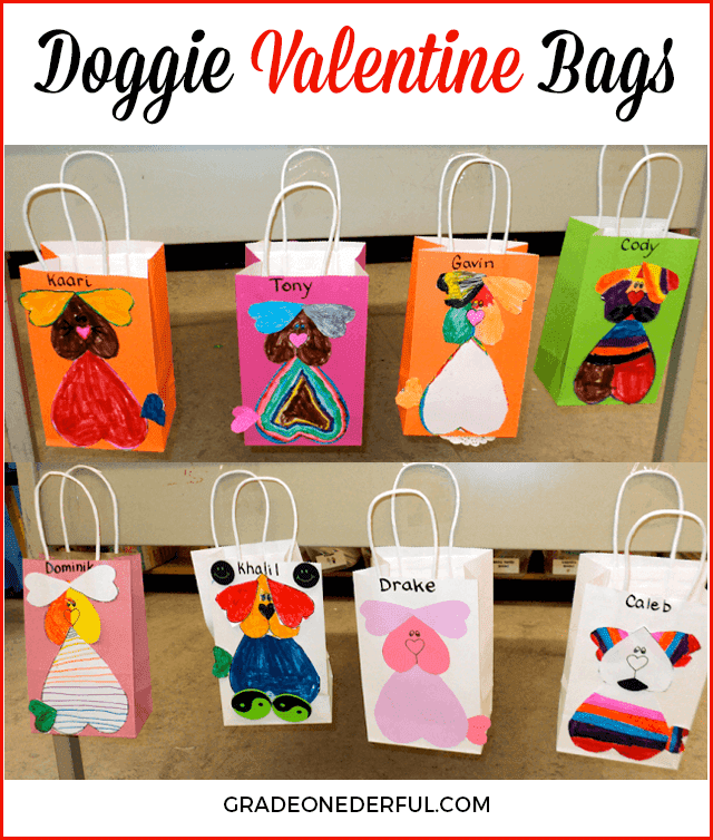 Puppy Valentine bags. My class of first graders made these super cute bags. I\'ve included the template so you can make one too!