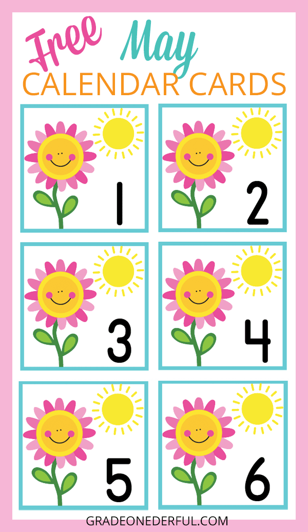 A free set of May calendar cards. These cards will fit in your pocket chart and are perfect for K-3.