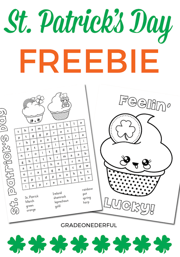 Free word search and coloring page for St. Patrick\'s Day. Perfect for K to Grade 3.