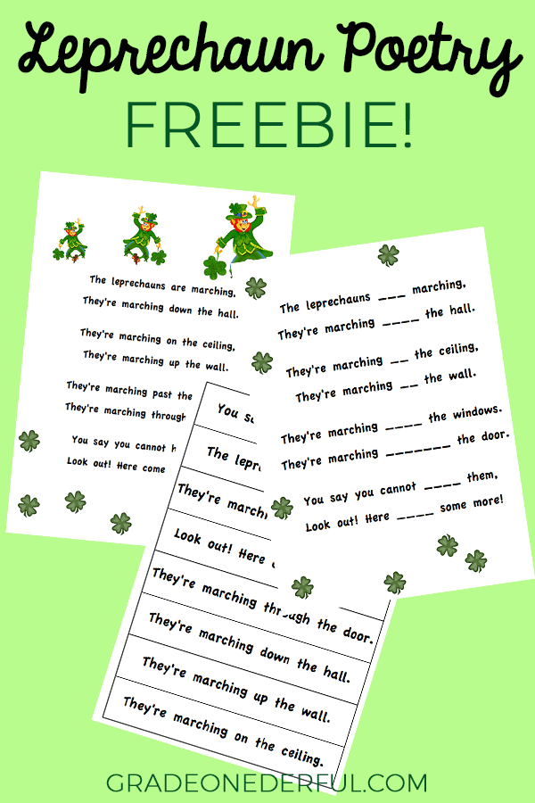 Leprechaun poem for first grade. Free printable.