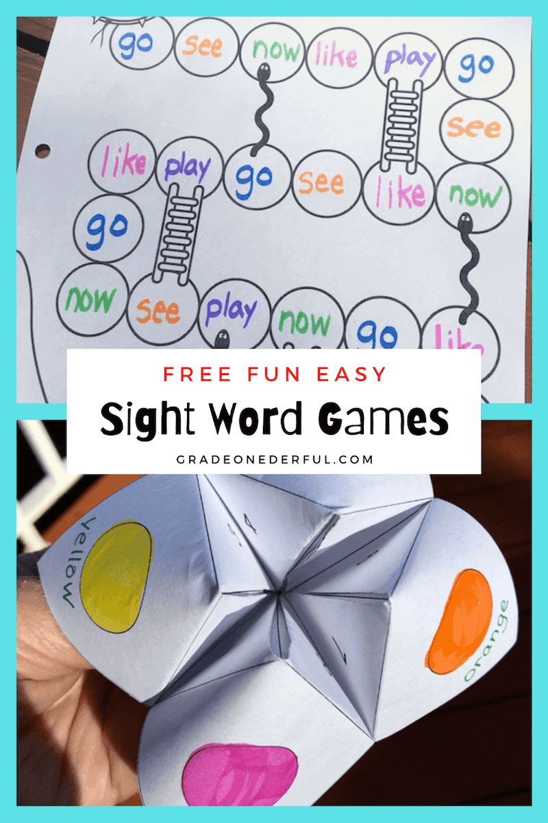 2 of My Favourite Sight Word Games for first grade. Free templates for Snakes \'n Ladders + Chatterbox, both adapted for sight word learning. Your kids will love these!