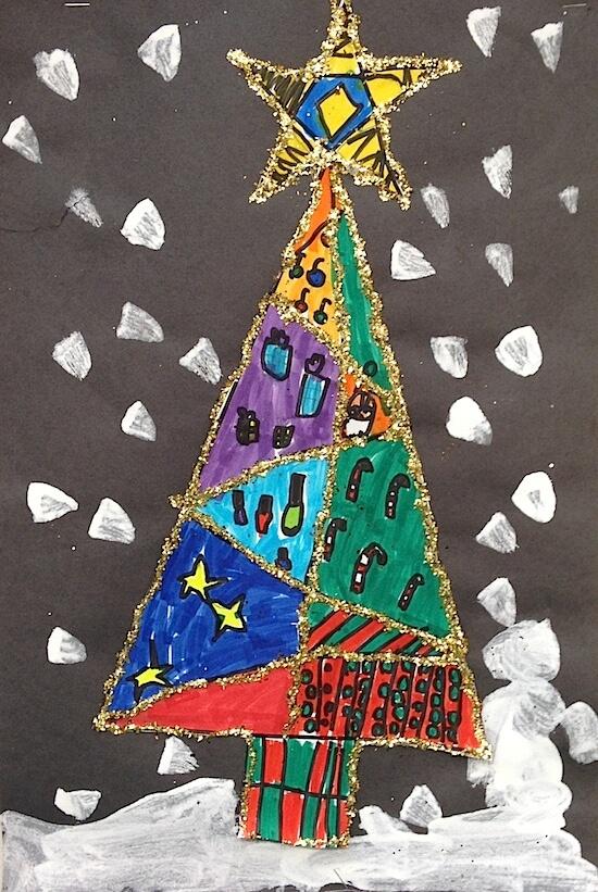 Glittery Christmas tree art