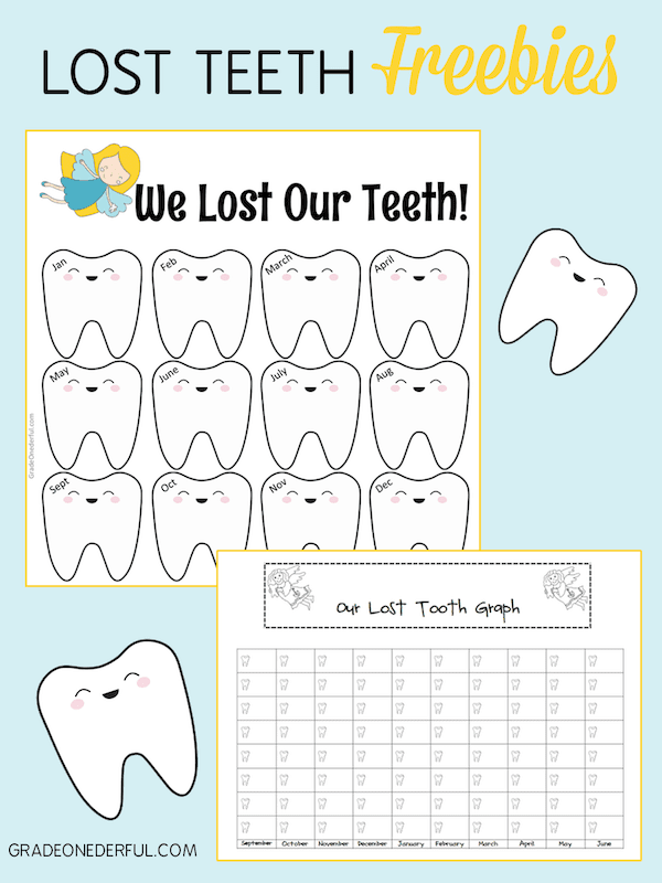 I have 3 cute lost teeth freebies for you. No strings attached. You\'ll get a Lost Teeth year-long chart, a Tooth Graph and also a large clip art tooth.