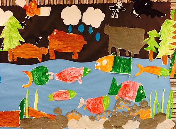 Ideas and Freebies for a 1st Grade Salmon Unit: Salmon Books, Salmon Mural, Lifecycle Wheel, Salmon Art. #gradeonederful #salmonunit #firstgrade #firstgradesalmon