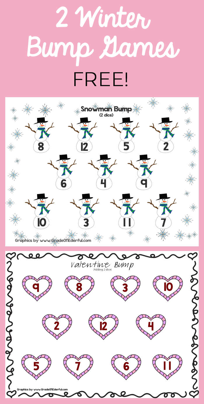 Two free bump games for Grade 1 math. Snowman Bump and Valentine Bump. Addition to 12.