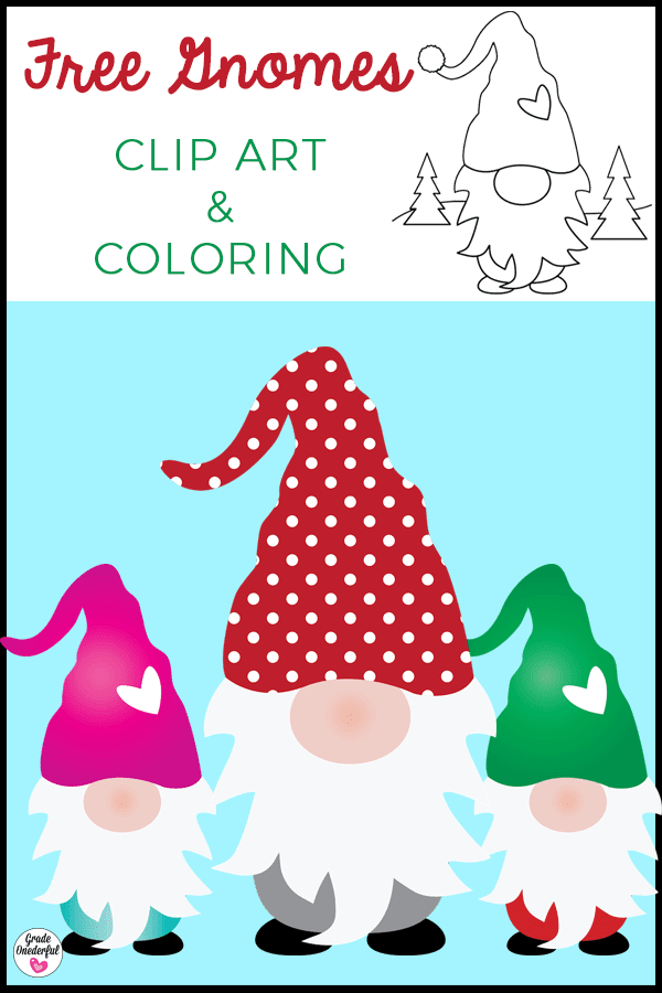 Free Gnome Clip Art and Coloring Page