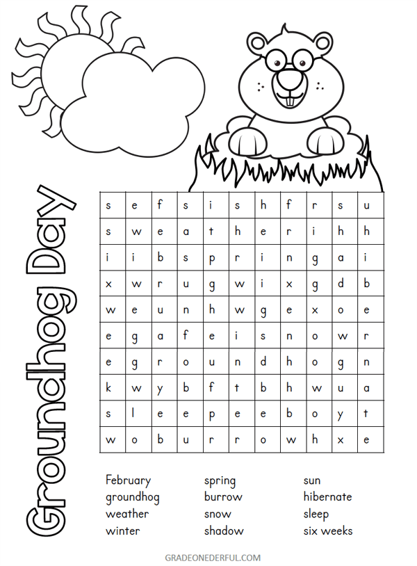 Free Printable: Groundhog Day word search and 2 coloring pages. Perfect for K-2.
