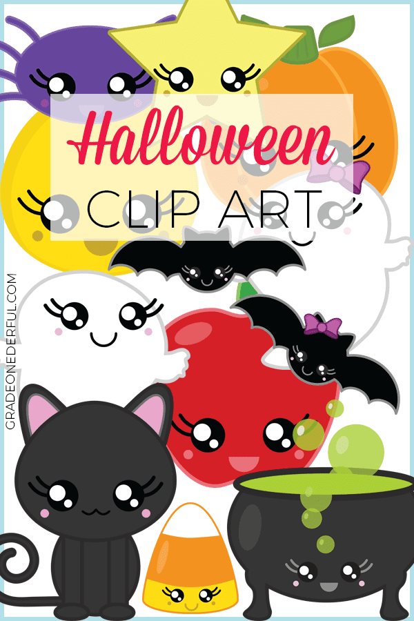 Kawaii Halloween Clipart. This super cute clipart is perfect for all your Halloween classroom, crafting and scrapbooking projects. The 300 dpi transparent png images are between 9 and 12 inches. #halloweenclipart #kawaiiclipart #halloween