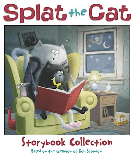 Splat the Cat paintings by first graders. Free story printables included.