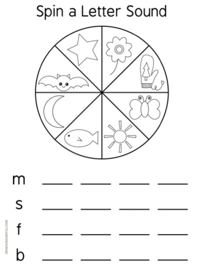 Spin a Letter Sound phonics game FREEBIE. Most children love to learn through games. So I\'ve made up a set of spinners that feature beginning sounds from a to z.