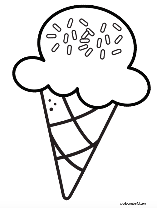Free printable: ice-cream cone colouring page.