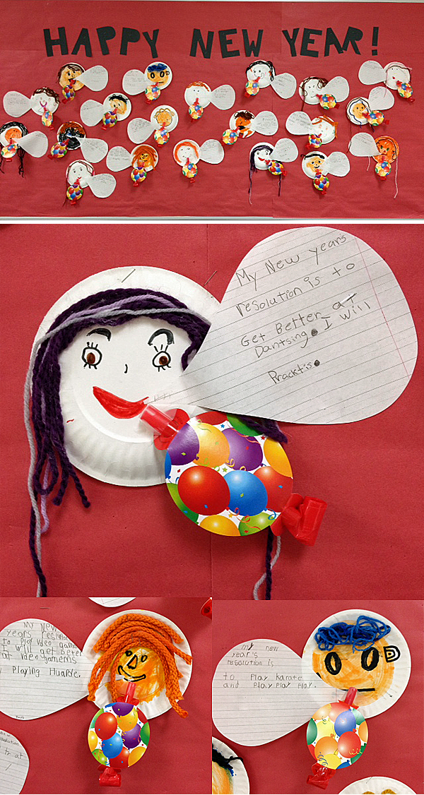 Writing New Year\'s resolutions party-style. For early primary kids. Paper plate faces with talking bubbles and party horns. #newyears #newyearresolutions #gradeonederful