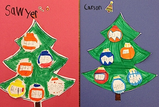 Christmas Tree Addition Freebies: Christmas tree art project and math lesson combined. Perfect for K to 2. Includes free templates AND a free vector Christmas tree with presents. #gradeonederful #christmasmath #christmasart #christmasaddition