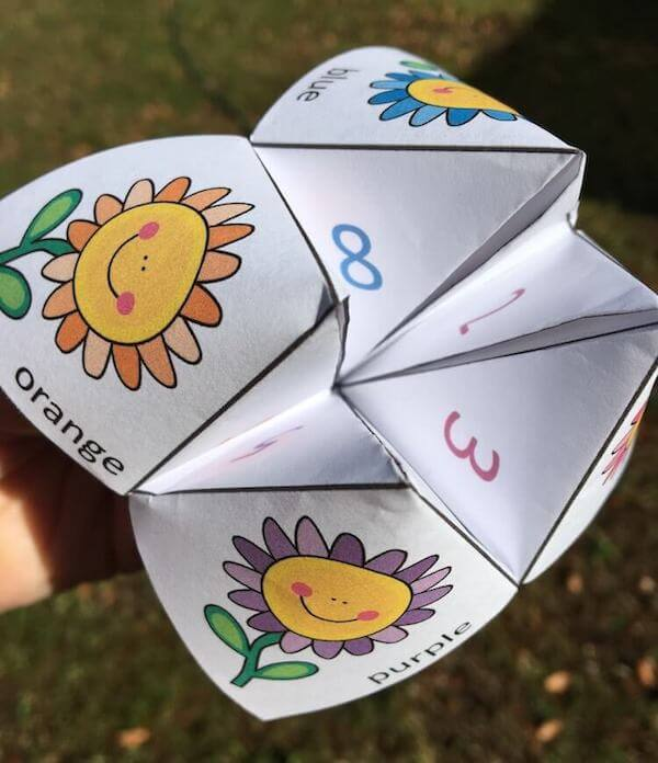Spring-themed chatterbox for kids. Includes 8 funny spring jokes, colour plus black/white templates, and full instructions.