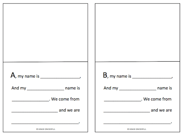 A to Z Writing Template. Coordinates with the book G My Name Is Girl