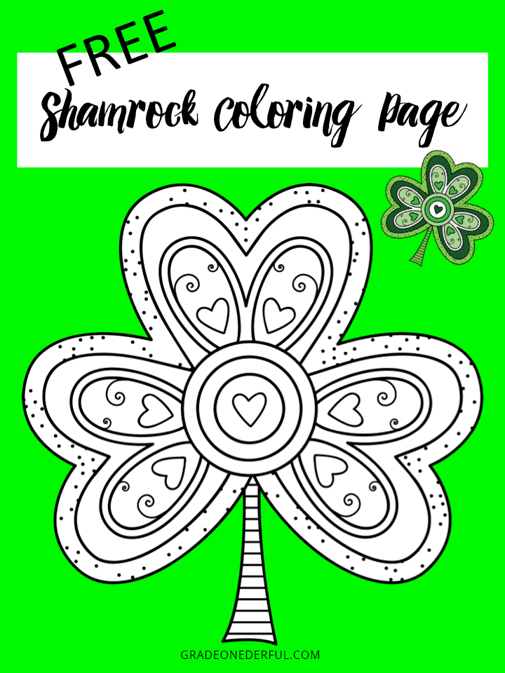 Shamrock colouring page for kids and adults