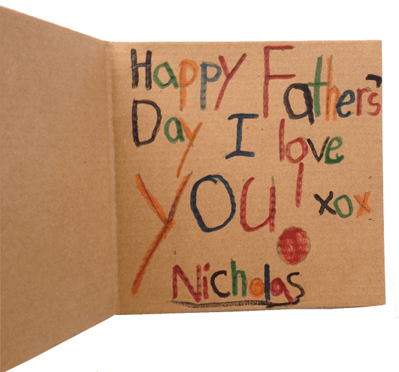 Day cards made by kids. Materials: brown note cards, heart punch, scallop punch, scrap paper. Super easy!