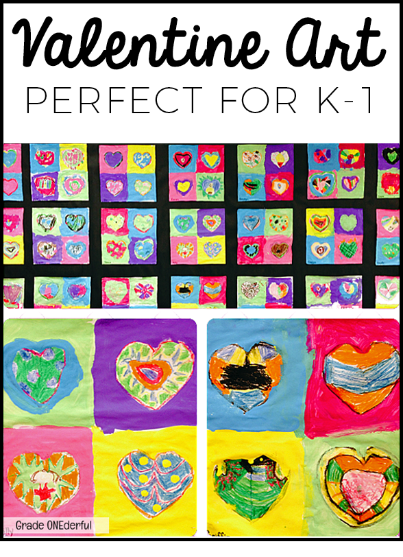 Valentine paintings in a Pop Art style by grade one students. Hearts drawn with oil pastel and painted with tempera.