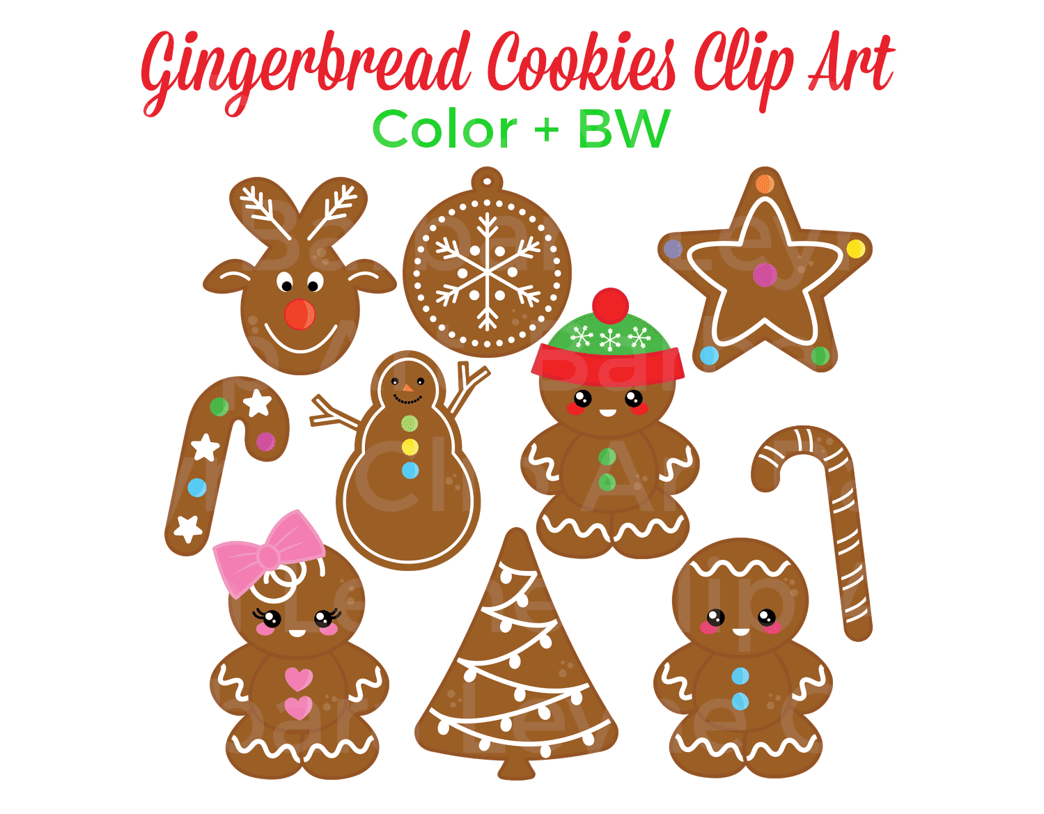Super sweet gingerbread cookies clip art. Only $3 on TpT and Etsy. There are 10 colour and 10 bw images plus a bonus girl!