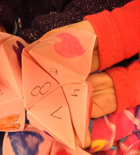 We made Cootie Catchers to practice our spelling words