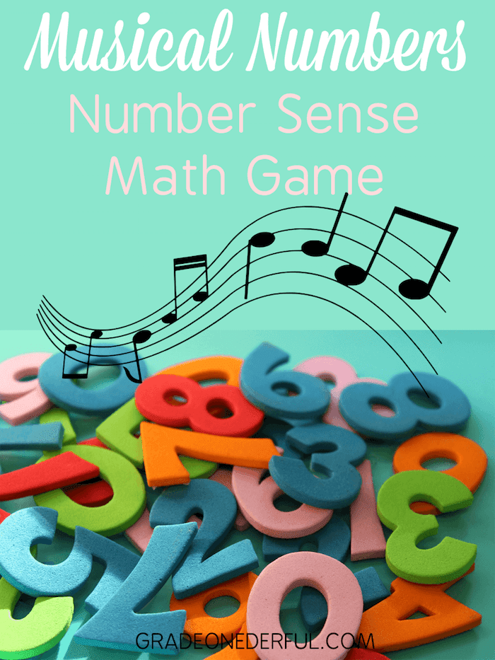 Musical number matching game for first graders. This game is great for building number recognition and kids love it! You can grab a 4 sets of number cards just for subscribing to my newsletter.