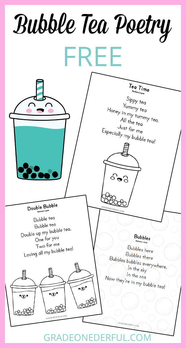 Bubble Tea Poetry. 3 bubble tea poems for you to use with your classroom. Free and instant download. Perfect for K-2.