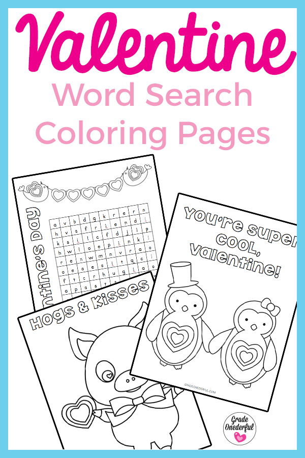 Valentine Word Search and Coloring Pages. Free Printables.