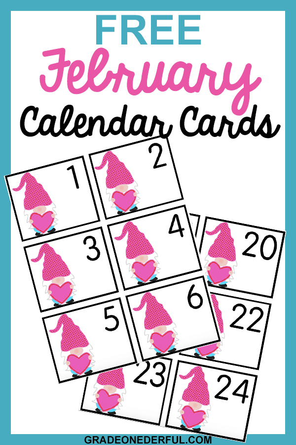 Free Valentine Calendar Cards featuring a Valentine gnome. These cards are perfect for your calendar pocket chart.