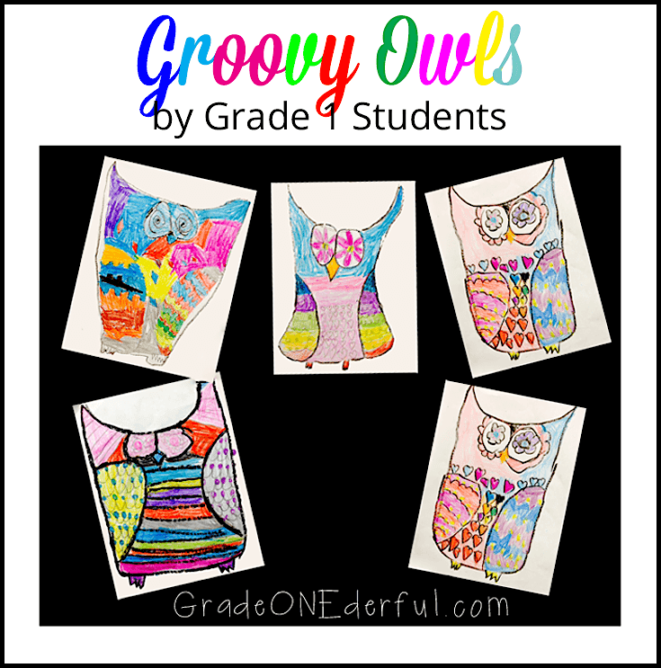 Groovy Owl Art Project by Grade 1 students