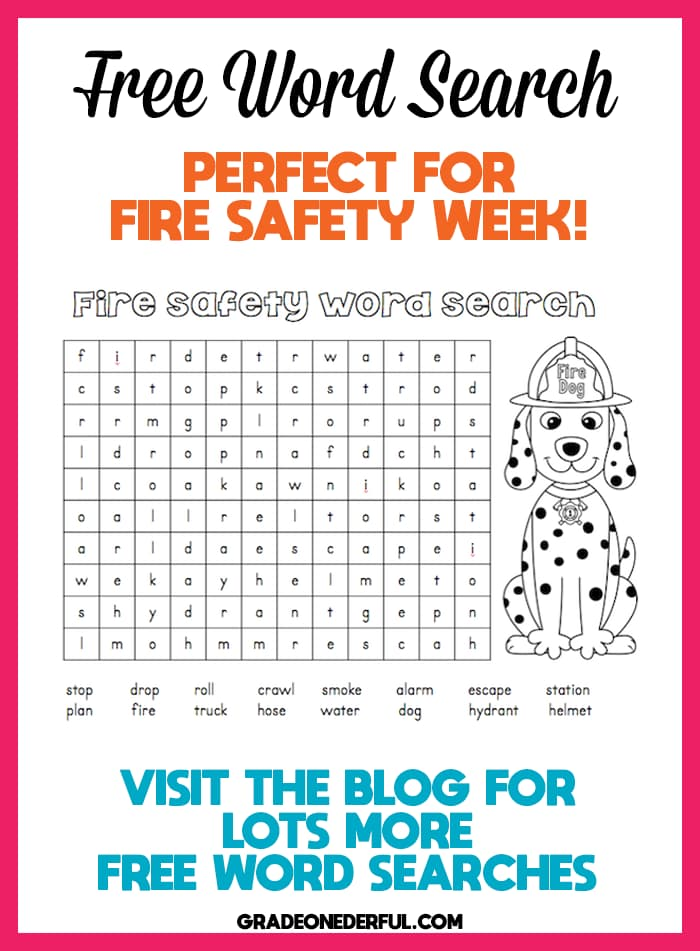 fire safety word search for kids